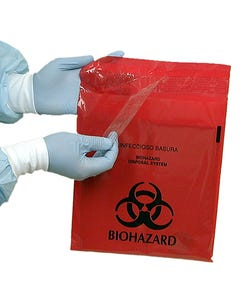 Red Biohazard Waste Stick-On Disposal Bags