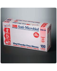 AMS Anti-Microbial Vinyl Powder-Free Gloves