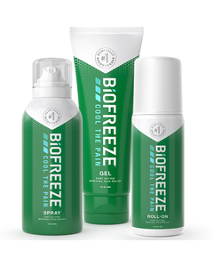 3 different Biofreeze Classic products for fast acting pain relief pictured left to right: spray bottle, squeeze bottle & roll-on.